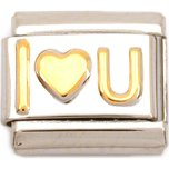 I Love You Italian Charm Gold Plated Heart Bracelet 9mm