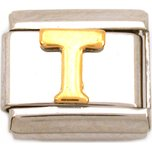 T Italian Charm Gold Plated Letter