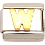 W Italian Charm Gold Plated Letter