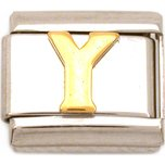 Y Italian Charm Gold Plated Letter