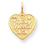 10K Yellow Gold VERY SPECIAL MOM HEART Charm