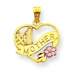 10K Two Tone Gold #1 Mother Heart Charm