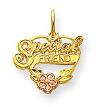 10K Two Tone Gold Special Friend Heart Charm