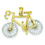 14K Two Tone Gold 3D Bicycle Charm