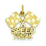 14K Gold Speed Freak Racing Flags Charm