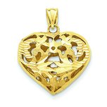 14K Gold 3D Fancy Heart Charm Diamond Cut