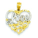 14K Two Tone Gold Love & Heart Charm