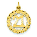 14K Gold #21 in Circle Pendant