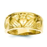 14K Gold Claddagh Ring Sz 10