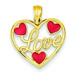 14K Gold Red Enameled Hearts Love Pendant