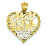 14K Two Tone Gold My Soul Mate Heart Pendant