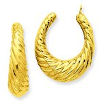 14K Gold Twisted Hollow Hoop Earring Jackets