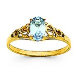 14K Gold Synthetic Aquamarine Children's Birthstone Ring