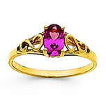 14K Gold Synthetic Alexandrite Children's Birthstone Ring