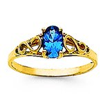 14K Gold Synthetic Blue Zircon Children's Birthstone Ring