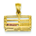 14K Two Tone Gold 3-D Lobster Trap Pendant