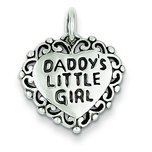 "Sterling Silver Daddy's Little Girl Heart Charm & 18"" Chain"