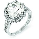 Sterling Silver Rhodium Plated CZ Fashion Ring (Sizes 6 to 8)