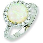 Sterling Silver Rhodium Plated CZ & Opal Fashion Ring (Sizes 6 to 8)