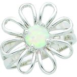 Sterling Silver Lab Created Opal Flower Ring