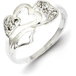 Sterling Silver Cubic Zirconia Heart Promise Ring