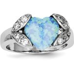 Sterling Silver Lab Created Opal & CZ Ring