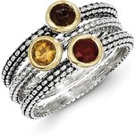 Town & Country 3 Stackable Sterling Silver & 14K Gold Gemstone Rings Size 6