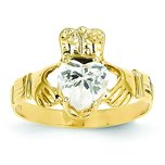 14K Gold Cubic Zirconia April Birthstone Claddagh Ring