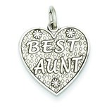 14K White Gold Best Aunt Heart Charm