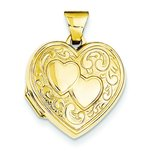 14K Gold Double Heart Locket
