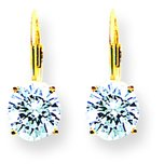 14K Gold Cubic Zirconia Lever Back Earrings 7mm