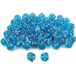 Blue Round Dot Glass Beads Lampwork Beading Approx 50