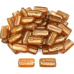 Flat Rectangle Silver Foil Glass Beads Amber 34mm 50Pcs Approx.