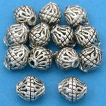 Bali Bicone Tube Antique Silver Plated Beads 8.5mm 15 Grams 12Pcs Approx.