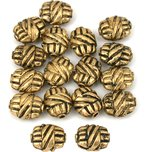 Bali Barrel Flat Oval Antique Gold Plated Beads 9mm 15 Grams 15Pcs Approx.