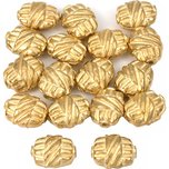 Bali Barrel Flat Oval Gold Plated Beads 9mm 15 Grams 15Pcs Approx.