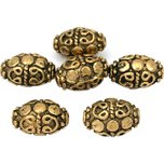 Bali Barrel Oval Antique Gold Plated Beads 13mm 17 Grams 6Pcs Approx.
