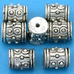 Bali Barrel Antique Silver Plated Beads 9mm 16 Grams 7Pcs Approx.