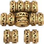 Bali Barrel Flat Oval Antique Gold Plated Beads 9mm 15 Grams 6Pcs Approx.