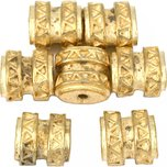 Bali Barrel Flat Oval Gold Plated Beads 9mm 15 Grams 6Pcs Approx.