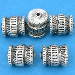 Bali Barrel Antique Silver Plated Beads 12mm 16 Grams 5Pcs Approx.