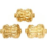 Bali Barrel Gold Plated Beads 17mm 19 Grams 3Pcs Approx.