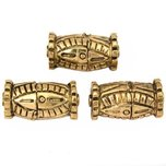 Bali Barrel Antique Gold Plated Beads 21.5mm 19 Grams 3Pcs Approx.