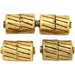 Bali Barrel Antique Gold Plated Beads 17mm 16 Grams 3Pcs Approx.