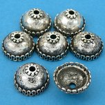 Bali Bead Caps Antique Silver Plated 15mm 15 Grams 7Pcs Approx.
