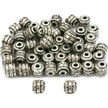 Bali Barrel Beads Antique Silver Plated 4.5mm 50Pcs Approx.