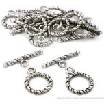 Twisted Toggle Clasps Antique Silver Plated Approx 12