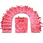 "Pink Rose Shopping Tote Gift Bags & Card 3""x 2""x 3/12"" Kit 100 Pcs"