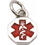 Medical ID Information Charm Sterling Silver 12.5mm