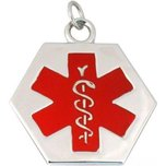 Medical ID Information Charm Sterling Silver 28mm